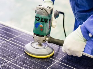 Photo of polishing solar panels