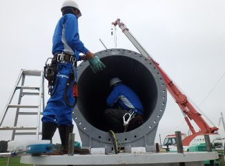 Photo of wind turbine installation